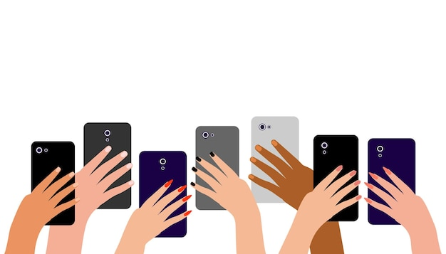 Hands of multicultural people with cell phones people men and women take photos on smartphone
