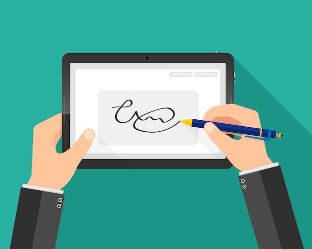 Руки бизнесмена и цифровая подпись на планшете