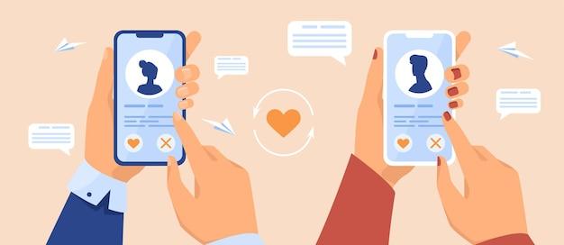 휴대 전화를 들고 데이트 앱 사용자의 손. 인터넷에서 파트너를 찾는 독신자