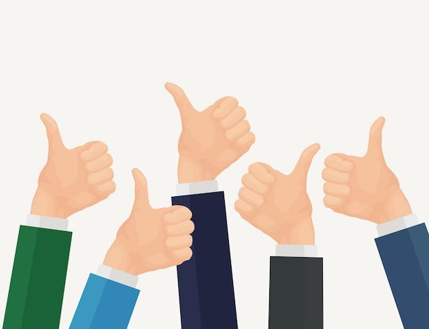 親指を立てた多くのビジネスマンの手。正のフィードバック