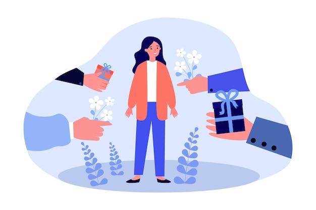 인기 있는 여성을 위해 선물 상자와 꽃을 들고 있는 남성의 손. 추종자 평면 벡터 일러스트 레이 션 사이에서 선택하는 여성 캐릭터. 배너 또는 웹 사이트 디자인을 위한 사랑, 로맨스, 관계 개념