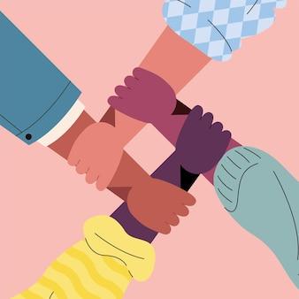 人種の異なる人の手