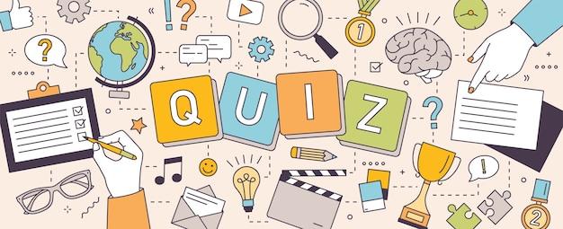 퍼즐이나 수수께끼를 풀고 퀴즈 질문에 답하는 사람들의 손. 지능 또는 지능을 테스트하는 팀 지적 게임
