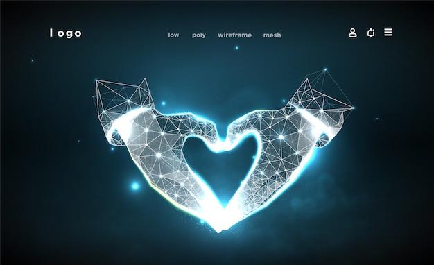ハート形の手。暗い青色の背景に抽象化します。低ポリワイヤーフレーム。ジェスチャーの手。愛のシンボル。神経叢ラインと星座のポイント。粒子は幾何学的な形で接続されています。