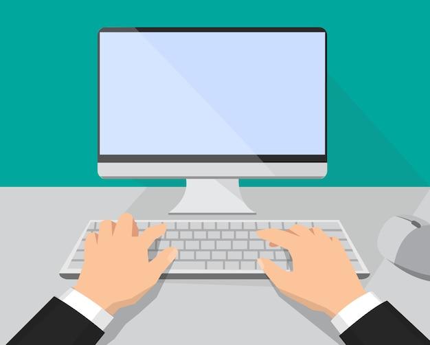 키보드와 컴퓨터 모니터에 손을 대십시오. 플랫 스타일의 일러스트레이션