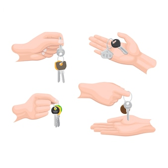 Hands passing keys to another human arms set.