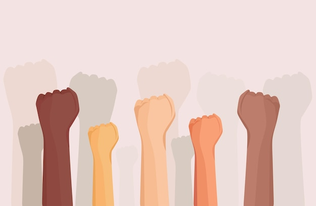 The hands of people of different races raised up the problem of discrimination vector