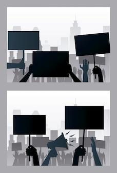 Руки люди протестуют, поднимая плакаты и сцены силуэтов мегафонов