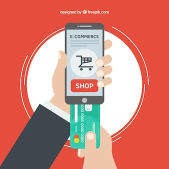 Hands, phone, shopping and credit card