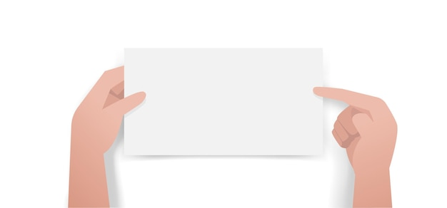 Руки указывают и держат белую пустую бумагу