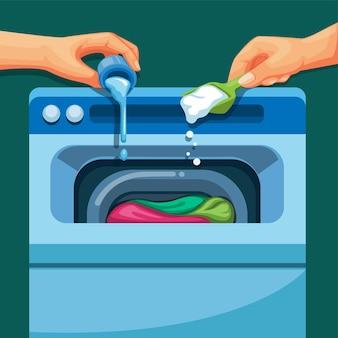 Руки наливают жидкость и моющее средство в стиральную машину