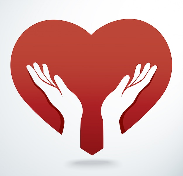 Руки молятся в форме сердца вектор