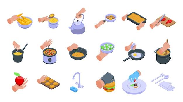 음식 아이콘 세트를 준비하는 손. 흰색 배경에 고립 된 웹 디자인을 위한 음식 아이콘을 준비하는 손의 아이소메트릭 세트