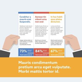 Руки, представляющие бизнес-инфографику.