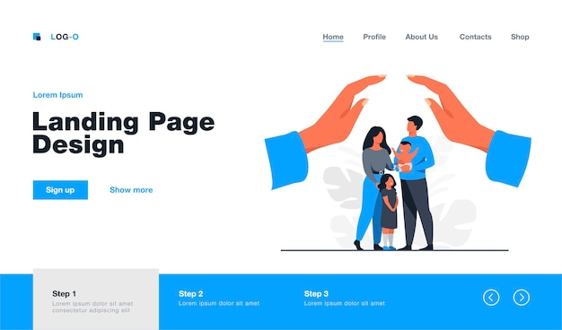 Hands protecting family with two children. young couple of parents holding baby, standing together under human palms. for family safety, state protection, assistance, care concept  landing page