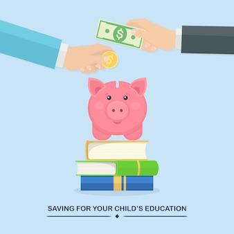 손은 금화, 돼지 저금통에 현금을 넣습니다. 교육 투자. 책 더미, 연구 비용 절감