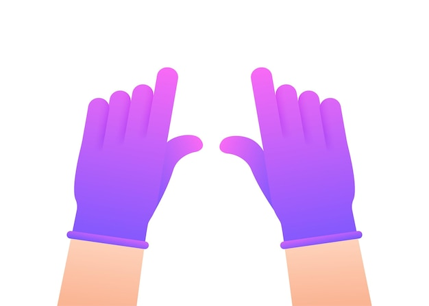 Hands putting on protective pinc gloves. latex gloves. vector stock illustration