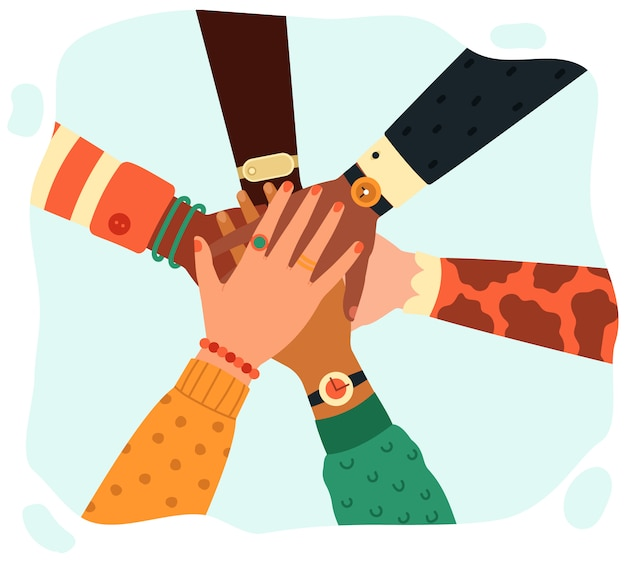 Hands putting together. people group putting hands teamwise, partnership, teamwork, unity and friendship concept   illustration. hands together partnership, work success