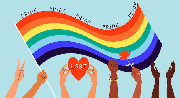 Hands and rainbow pride flag. variety of hands holding flowers, hearts and showing different gestures.