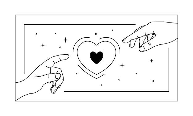 Руки тянутся к сердцу. штриховая графика. линейная мистическая рука с сердечками и звездной пылью.