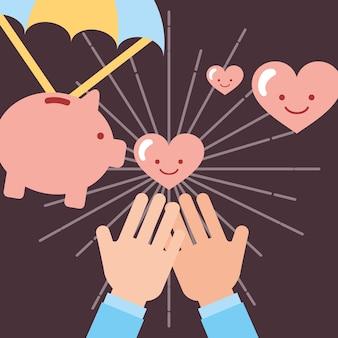 Hands receiving hearts love piggy bank donate charity