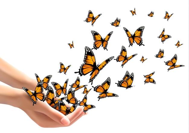 나비를 풀어주는 손. 삽화