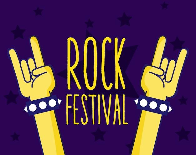 Hands rock festival sign cartooon