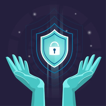 Hands security and anti-virus protection , cyber data security online, global data security, personal data security, internet rendering flat illustration