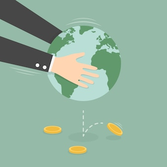 Hands shaking earth globe to get money