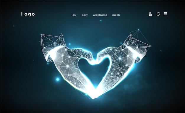 Hands of shape heart. abstract on dark blue background. low poly wireframe. gesture hands. love symbol. plexus lines and points in the constellation. particles are connected in a geometric shape.