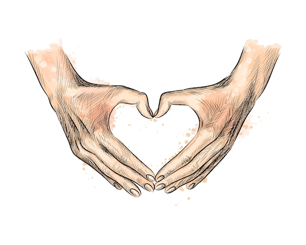 Hands in the shape of heart from a splash of watercolor, hand drawn sketch.  illustration of paints