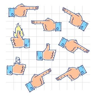 手はいいねを示し、さまざまな方向を指します。ベクトルイラスト。落書きスケッチ。