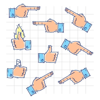 Hands show likes and point in different directions. vector illustration. doodle sketch.