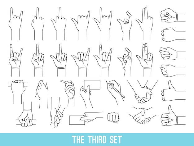 Hands showing gestures outline illustrations set. arm holding bar, handrail isolated cliparts on white background.