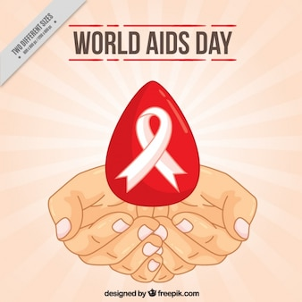 Hands sketches background with blood drop and world aids day ribbon