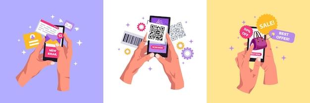 손 스마트폰 소셜 네트워크 디자인 컨셉