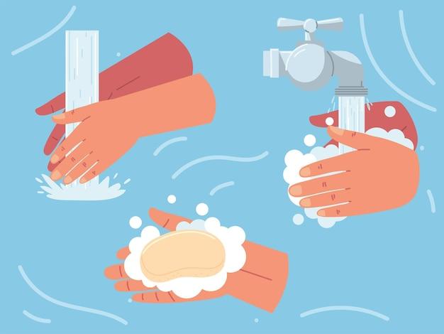 손 비누칠 및 헹굼