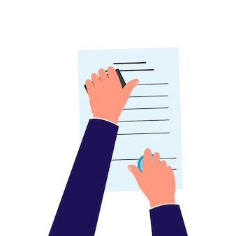 白い背景で隔離された上下に紙の文書をスタンプする手-公証人または管理者が書類に承認スタンプを置きます。