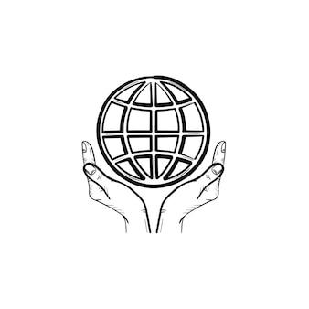 手は地球儀の手描きのアウトライン落書きアイコンをサポートしています。グリーンピースのコンセプト。印刷、ウェブ、モバイル、白い背景で隔離のインフォグラフィックの地球ケアベクトルスケッチイラスト。