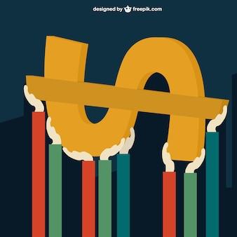 Руки, поддерживающие знак доллара Бесплатные векторы