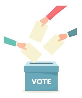 手は投票箱に投票を投げます。投票。フラットスタイルのイラスト。