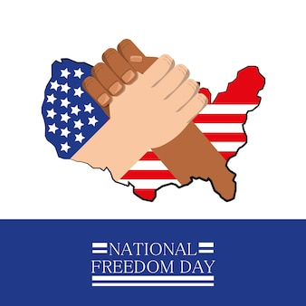 Hands together with flag celebrating national freedom day