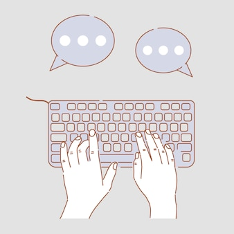 Hands typing on keyboard  cartoon illustration. hands doing business, chatting, web communications.