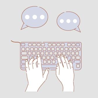 Руки, набрав на клавиатуре иллюстрации шаржа. руки занимаются бизнесом, общаются, общаются через интернет.
