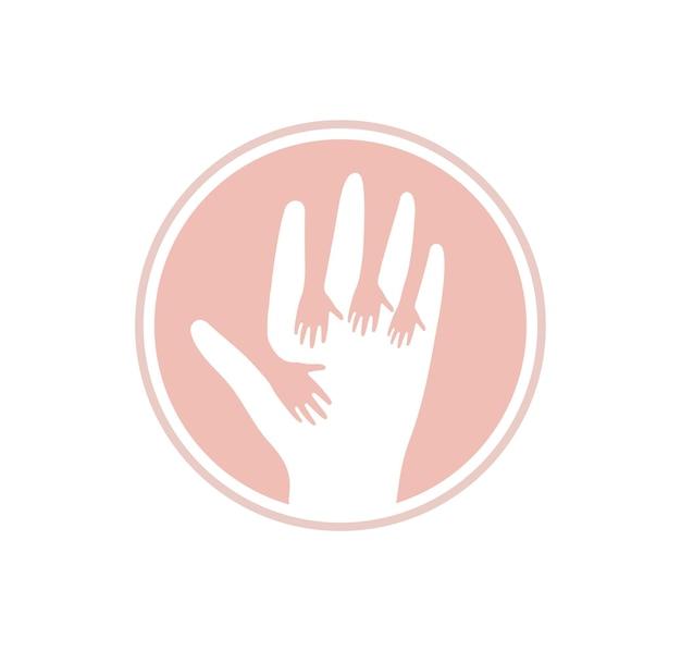 ハンズアップベクトルアイコンキッズヘルプロゴテンプレートフラット人間の手のロゴタイプケア抽象的なピンクのシンボル