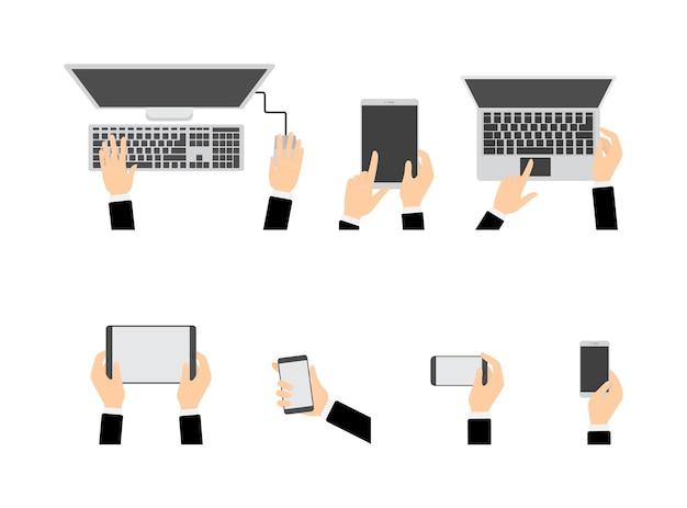 Набор рук с помощью различных устройств. компьютер и мобильный телефон, планшет и ноутбук. электронная техника. изолированные плоские векторные иллюстрации