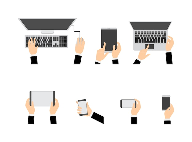 Hands using different devices set. computer and mobile phone, tablet and laptop. electronic technology. isolated flat vector illustration