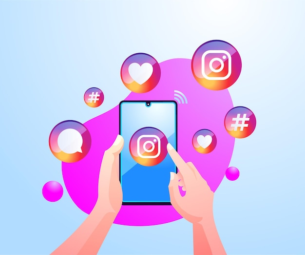 モバイルスマートフォンでinstagramアプリケーションを使用して手