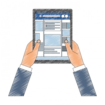Hands using tablet to check social networks scribble