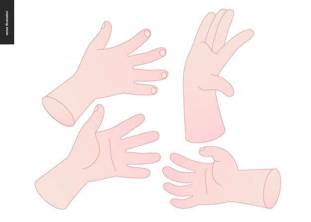 Hands vector set